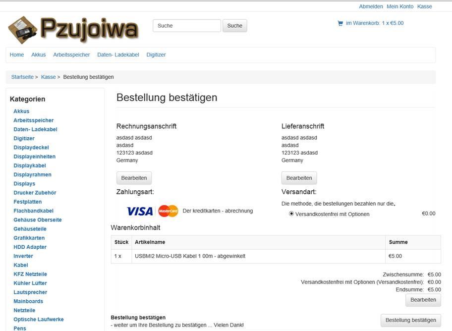 Fake Kreditkartendaten