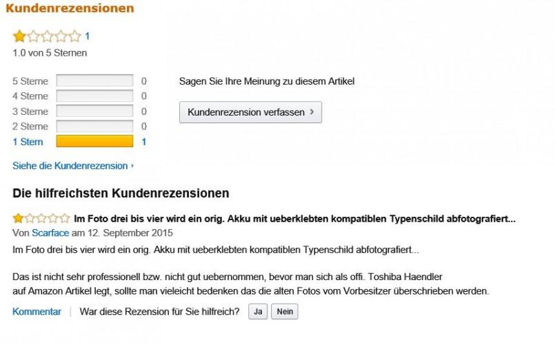 Produktbewertung bei Amazon