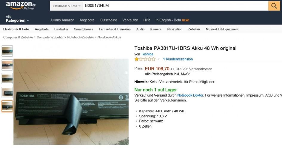Toshiba Akku Fälschung