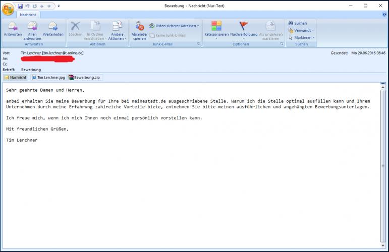 Bewerbungsmail mit angehängter ZIP-Datei