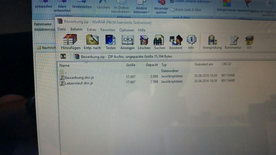Geöffnete Zip-Datei mit Javaskriptdateien