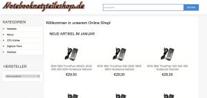 Notebook Netzteile Fake Shop