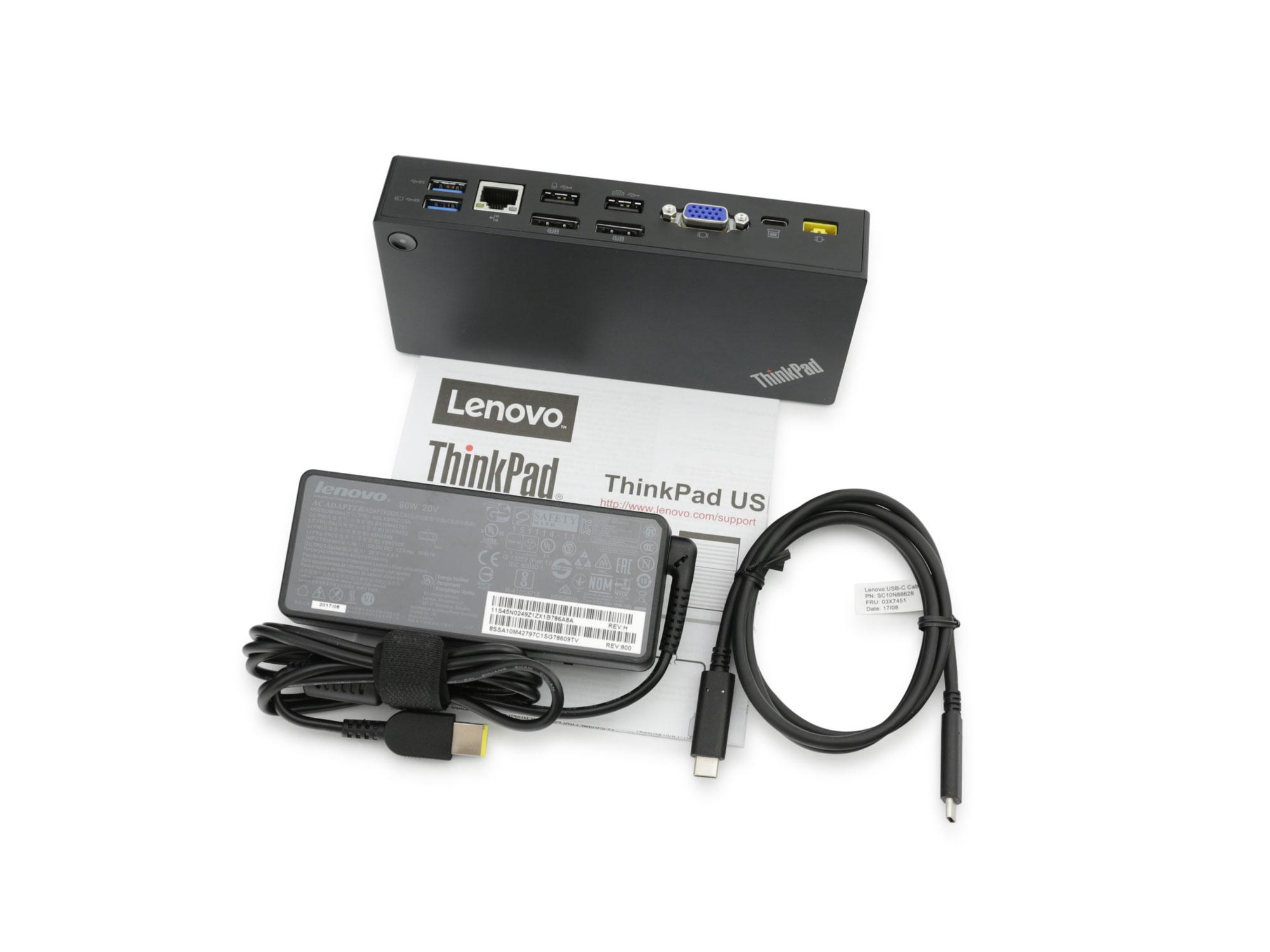 Der Lieferumfang der Lenovo ThinkPad PR USB-C Dock