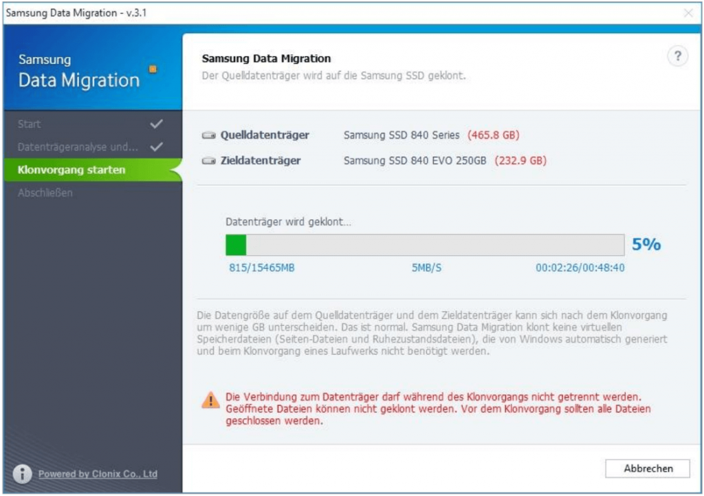 SSD Umzug Samsung software zeigt verbleibende zeit